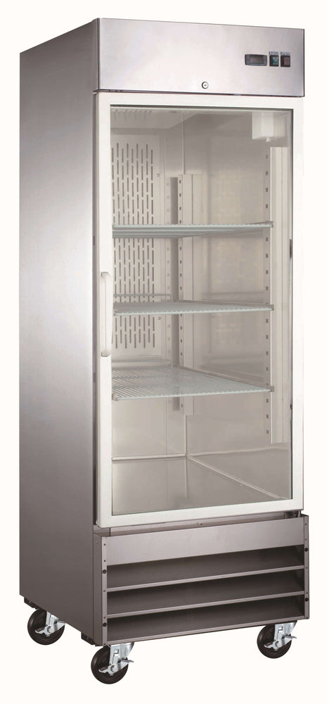 "Canco SSGR-650 Single Glass Door 29"" Wide Stainless Steel Refrigerator"