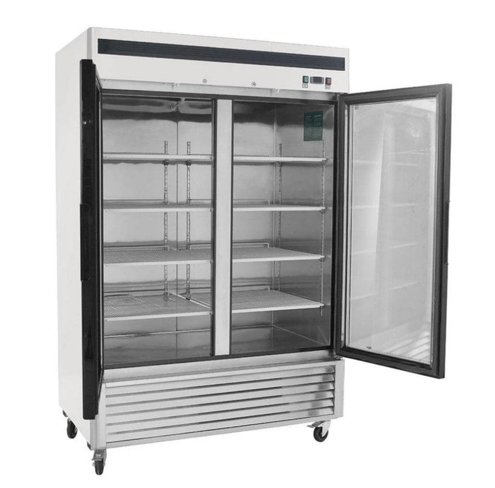 "Suttonaire MCF8703GR Double Swing Door 55"" Wide Stainless Steel Display Freezer"