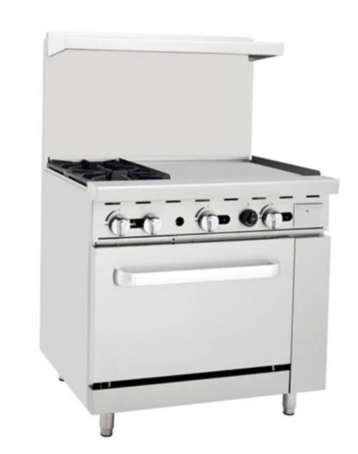 "Omega ATO-2B24G Natural Gas 2 Burners with 24"" Griddle Stove Top Range"