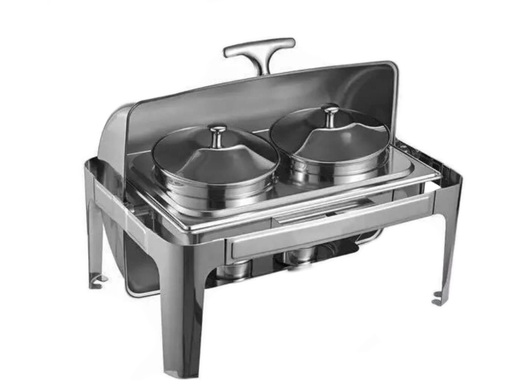 Omega AT61383-CAA Deluxe Full Size Roll Top Stainless Steel Chafing Dish Soup Set with 2 Soup Inserts
