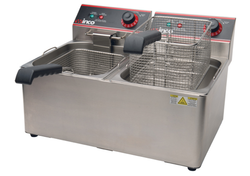 Winco EFT-32 Electric Counter Top Double Well Deep Fryer - 120V