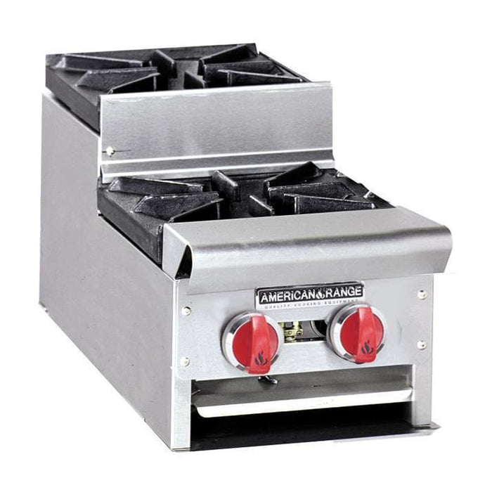 "American Range SUHP-12-2 Natural Gas/Propane Step Up 12"" Wide 2 Burner Hot Plate - Omni Food Equipment"