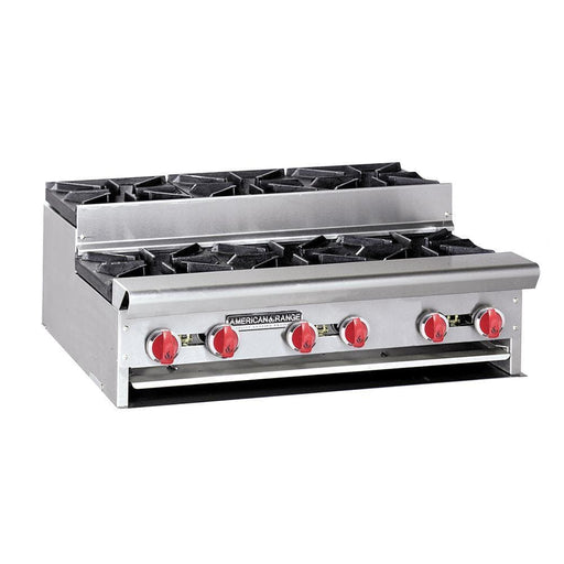 "American Range SUHP-36-6 Natural Gas/Propane Step Up 36"" Wide 6 Burner Hot Plate - Omni Food Equipment"