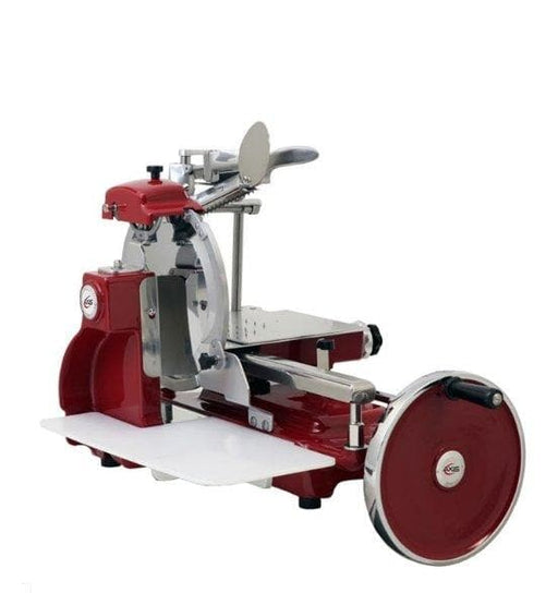"Axis AX-VOL12 Manual Red Flywheel Slicer - 12"" Blade - Omni Food Equipment"