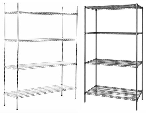 "Canarac Chrome/Black Epoxy Wire Shelf Kits (72"" High, 4 Shelves) - Various Sizes - Omni Food Equipment"