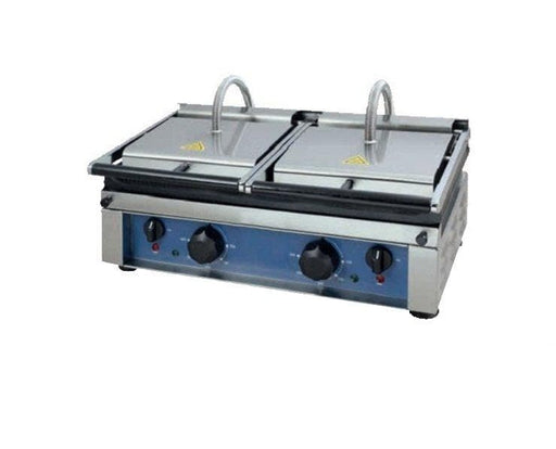 "Canco OTM5530 Large 12"" x 22"" Double Press Panini Grill - Ribbed Cooking Surface - Omni Food Equipment"