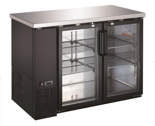 "Canco UBB-24-48G Commercial 49"" Double Glass Door Back Bar Cooler - Swing & Sliding Door Options - Omni Food Equipment"