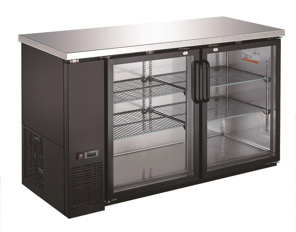 "Canco UBB-24-60G Commercial 61"" Double Glass Door Back Bar Cooler - Swing & Sliding Door Options - Omni Food Equipment"