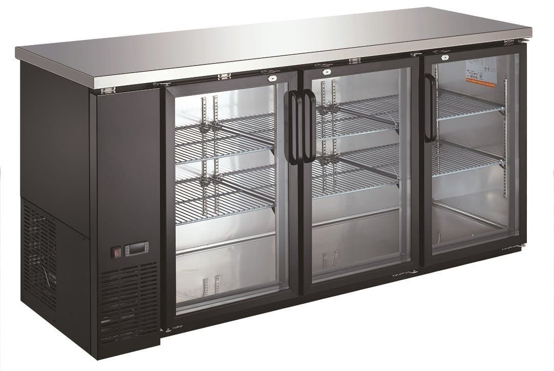 "Canco UBB-24-72G Commercial 73"" Triple Glass Door Back Bar Cooler - Swing & Sliding Door Options - Omni Food Equipment"
