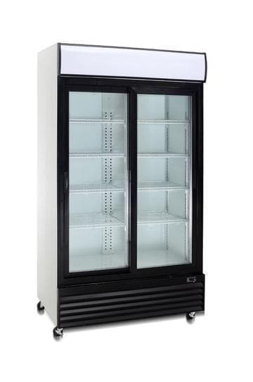 "Coolasonic P600WA Double Door 37"" Wide Display Refrigerator - Omni Food Equipment"
