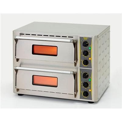 "Equipex PZ-430D Electric 17"" Double Deck Counter Top Pizza Oven - 208-240V - Omni Food Equipment"
