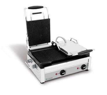 "Eurodib Large 18"" x 11"" Double Press Panini Grill - Various Cooking Surfaces - Omni Food Equipment"