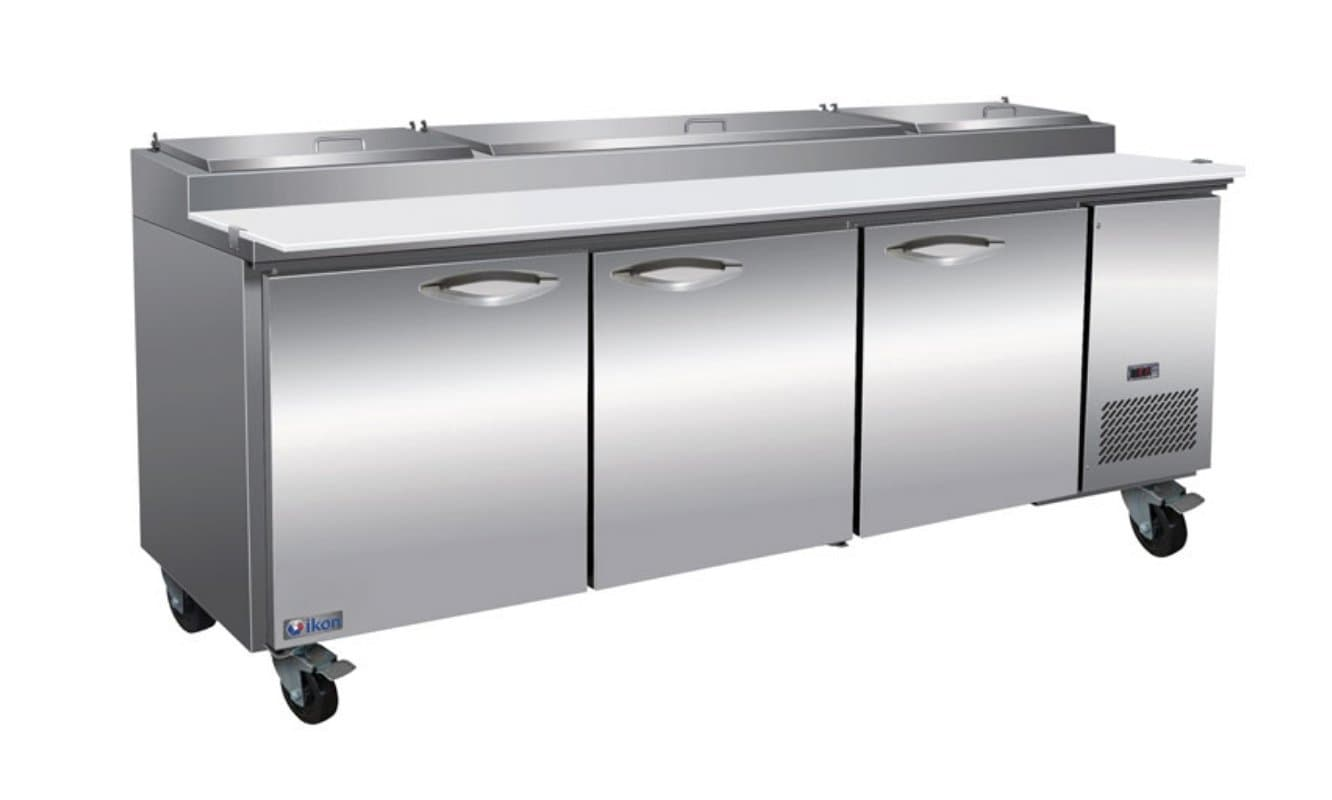 "Ikon IPP94 Triple Door 94"" Refrigerated Pizza Prep Table - Various Configurations - Omni Food Equipment"