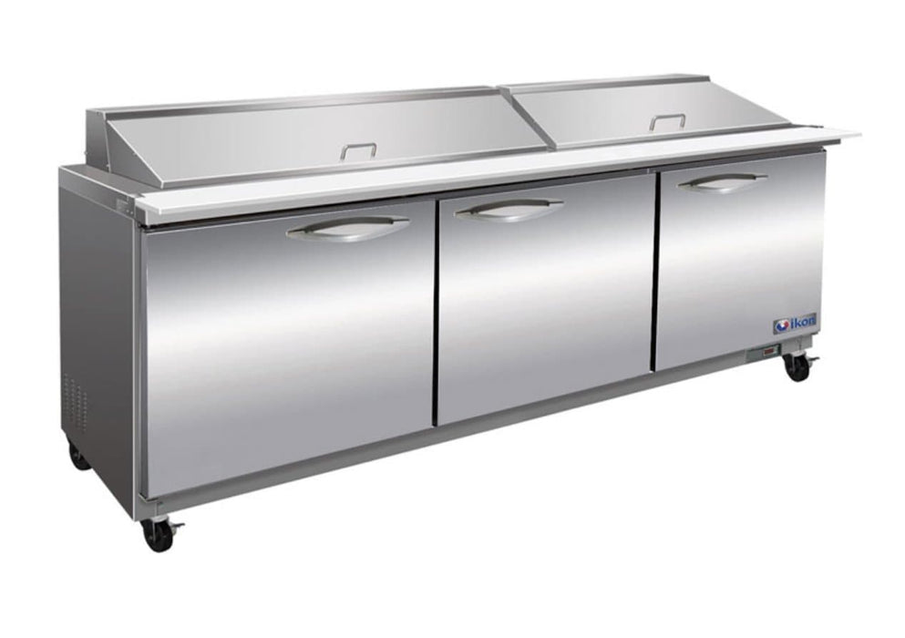 "Ikon ISP72M Triple Door 72"" Refrigerated Mega Top Sandwich Prep Table - Omni Food Equipment"