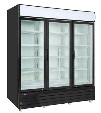 "Kool-It KGM-75 Triple Swing Door 78"" Wide Display Refrigerator - Omni Food Equipment"