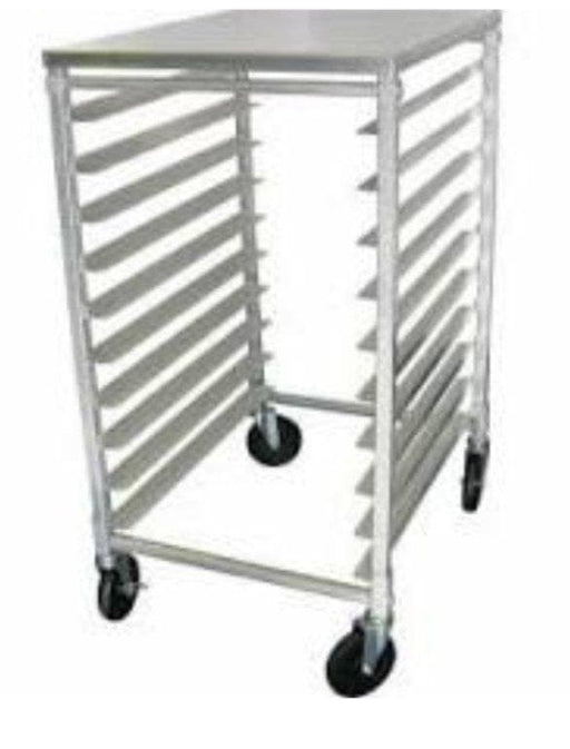 Omega ALRK10T Aluminum WELDED 10-Tier Sheet Pan Rack, 3″ Spacing - Solid Top - Omni Food Equipment