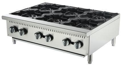 Omega ATHP-36-6 Natural Gas/Propane 6 Burner Hot Plate - Omni Food Equipment