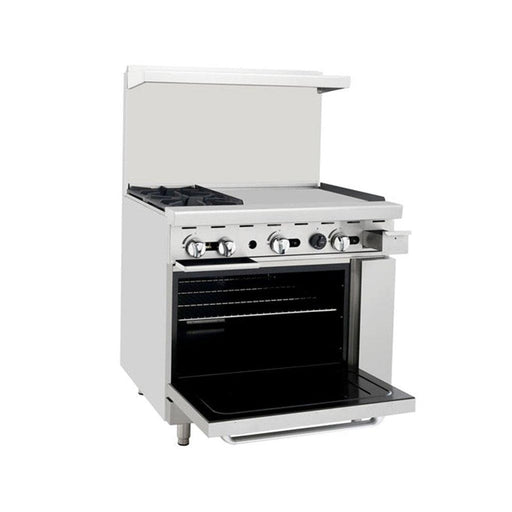 "Omega ATO-2B24G Natural Gas 2 Burners with 24"" Griddle Stove Top Range - Omni Food Equipment"