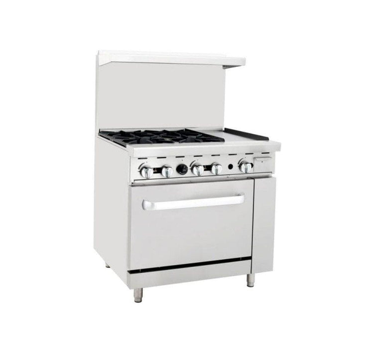 "Omega ATO-4B12G Natural Gas 4 Burners with 12"" Griddle Stove Top Range - Omni Food Equipment"