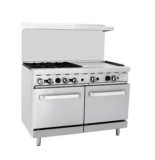 "Omega ATO-4B24G Natural Gas 4 Burners with 24"" Griddle Stove Top Range - Omni Food Equipment"