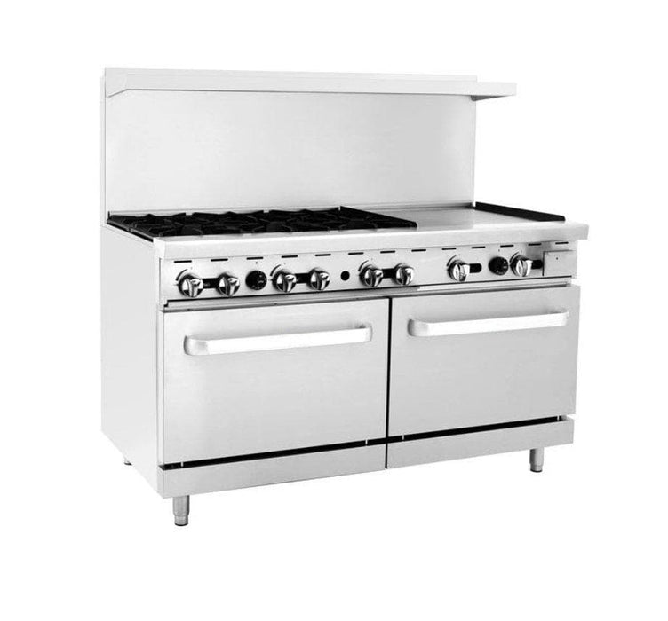"Omega ATO-6B24G Natural Gas 6 Burners with 24"" Griddle Stove Top Range - Omni Food Equipment"