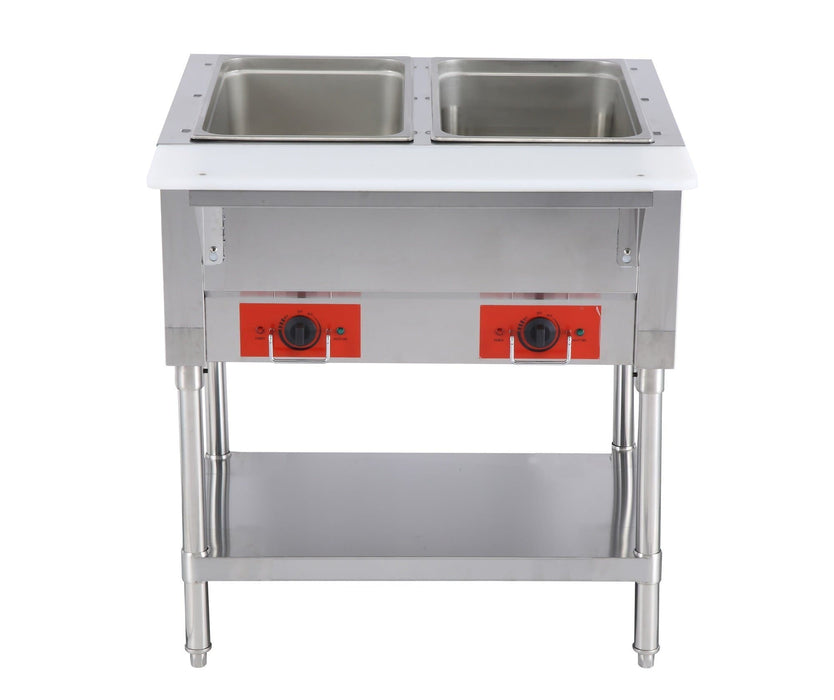 Omega FZ-06B Electric 2 Well Steam Table - 120V, NO WATER REQUIRED - Omni Food Equipment
