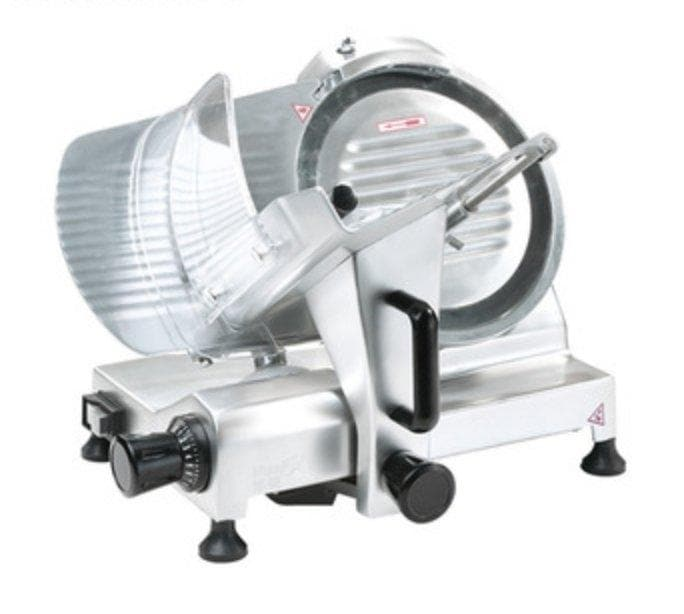 "Omega HBS-250 Manual Aluminum Meat Slicer - 10"" Blade, 1/5 HP, Belt Drive - Omni Food Equipment"