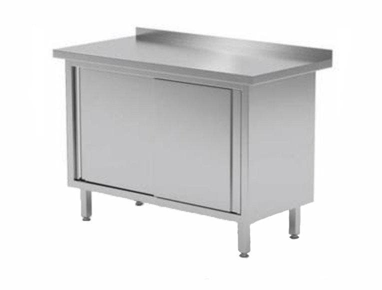 "Omega Stainless Steel Dish Cabinets With Sliding Doors With 4"" Back Splash - Various Sizes - Omni Food Equipment"