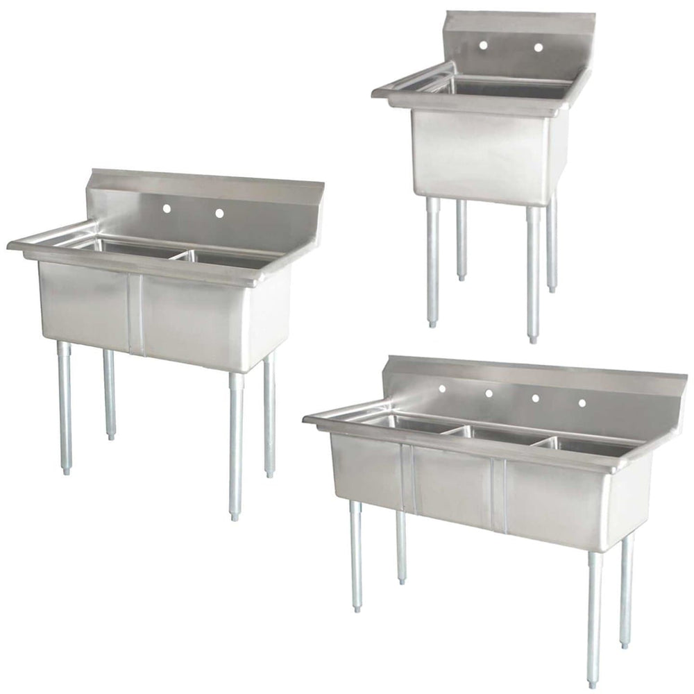 Omega Stainless Steel Single, Double and Triple Compartment Sinks - Various Sizes - Omni Food Equipment