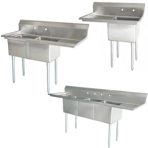 Omega Stainless Steel Sinks with Drainboard - Various Configurations - Omni Food Equipment
