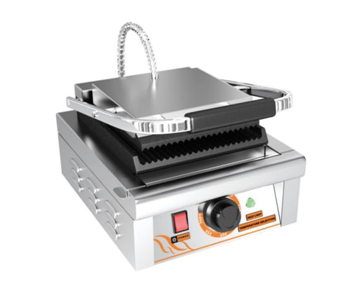 "Omega ZDP-81A Small 9"" x 9"" Single Press Panini Grill - Ribbed Cooking Surface - Omni Food Equipment"