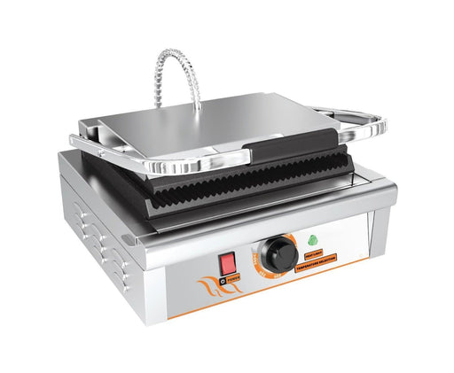 "Omega ZDP-81B Medium 14"" x 9"" Single Press Panini Grill - Ribbed Cooking Surface - Omni Food Equipment"