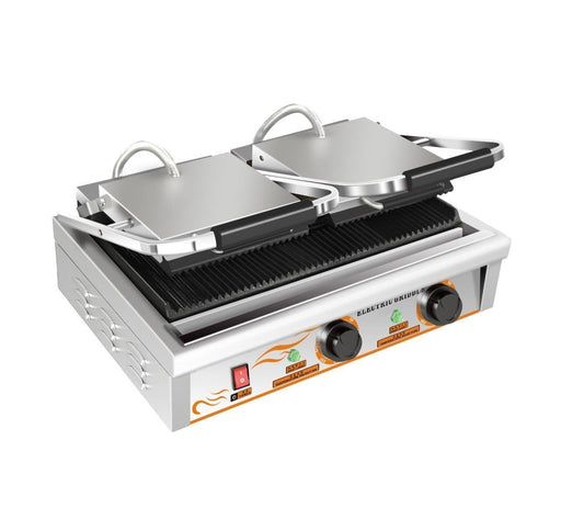 "Omega ZDP-82A Large 20"" x 9"" Double Press Panini Grill - Ribbed Cooking Surface - Omni Food Equipment"