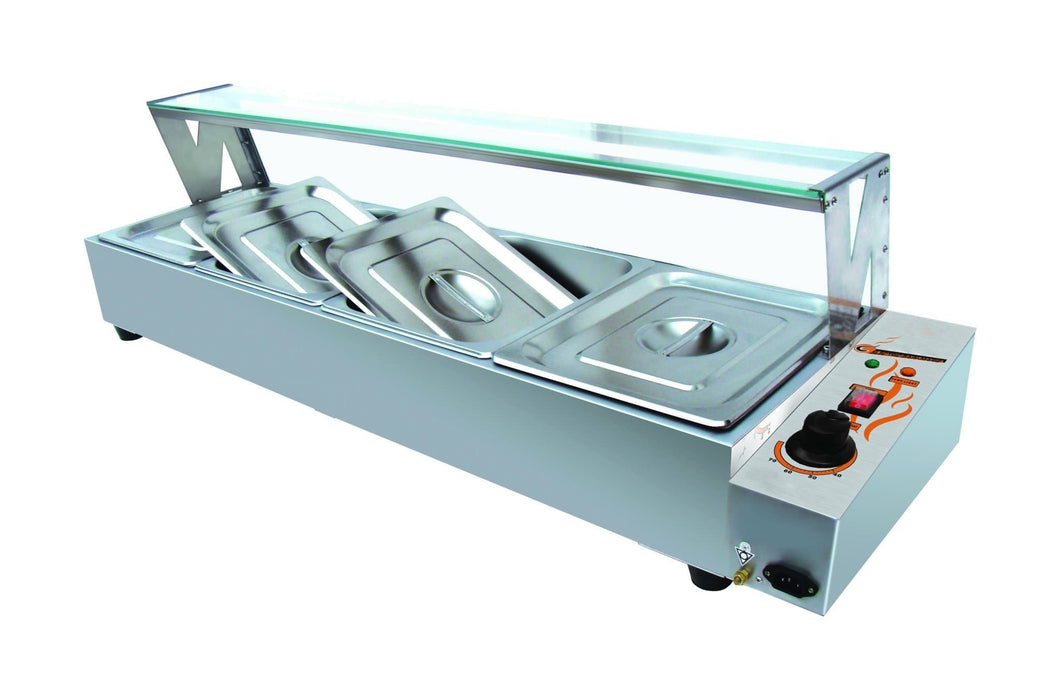 Omega ZEB-84 Electric Bain Marie with Glass Guard - Fits 4 PCs 1/2 Size Pans - Omni Food Equipment