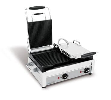 "Eurodib SFE02375 Large 18"" x 11"" Double Press Panini Grill - Left Side Flat, Right Side Ribbed Cooking Surface"