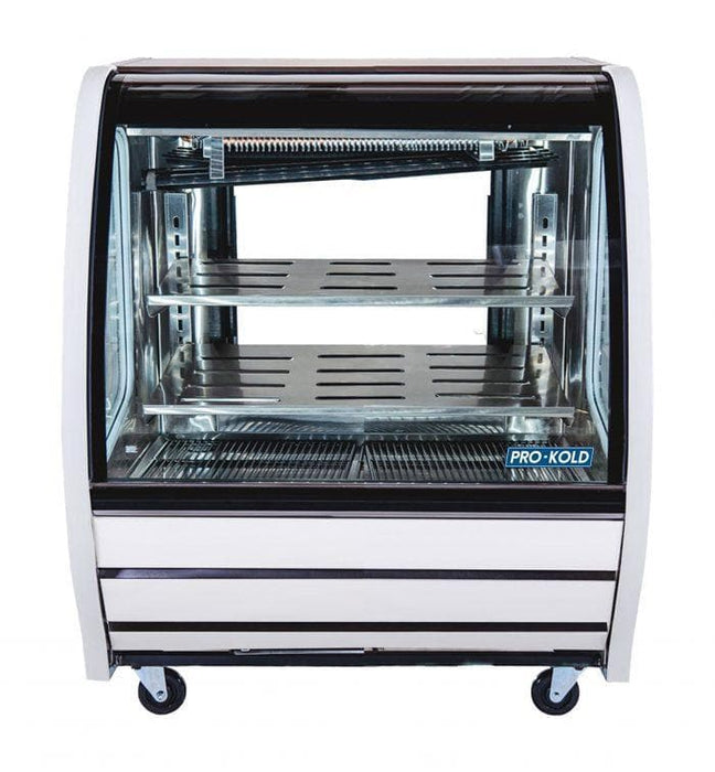 "Pro-Kold DDC-40 Curved Glass 40"" Refrigerated Deli Case - Available in White, Black or S/S Finish - Omni Food Equipment"