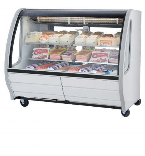 "Pro-Kold DDC-60 Curved Glass 56"" Refrigerated Deli Case - Available in White, Black or S/S Finish - Omni Food Equipment"