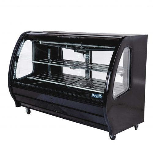 "Pro-Kold DDC-80 Curved Glass 74"" Refrigerated Deli Case - Available in White, Black or S/S Finish - Omni Food Equipment"