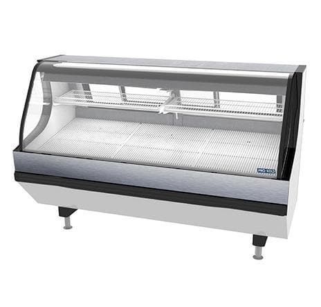 "Pro-Kold MCSC-80-W Curved Glass 79"" Refrigerated Fresh Meat Display Case - SELF-CONTAINED CONDENSING UNIT - Omni Food Equipment"