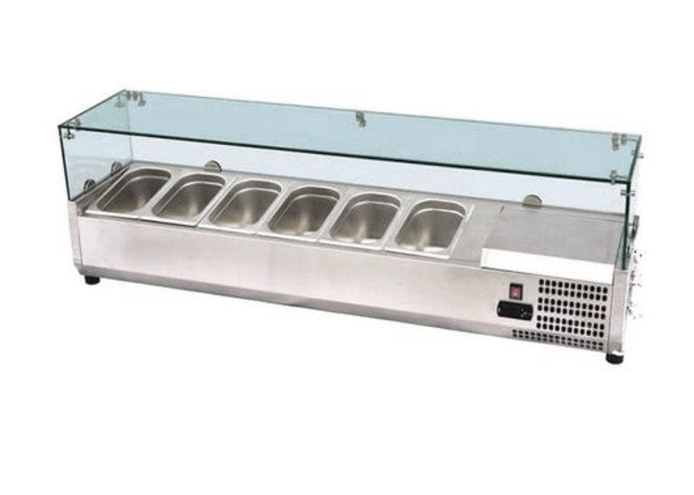 "Suttonaire ESL3884 Refrigerated 59"" Topping Rail with Glass Sneeze Guard - Omni Food Equipment"
