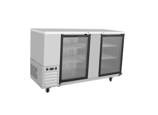 "Suttonaire MBB69G Commercial 68"" Double Swing Glass Door Back Bar Cooler - Omni Food Equipment"