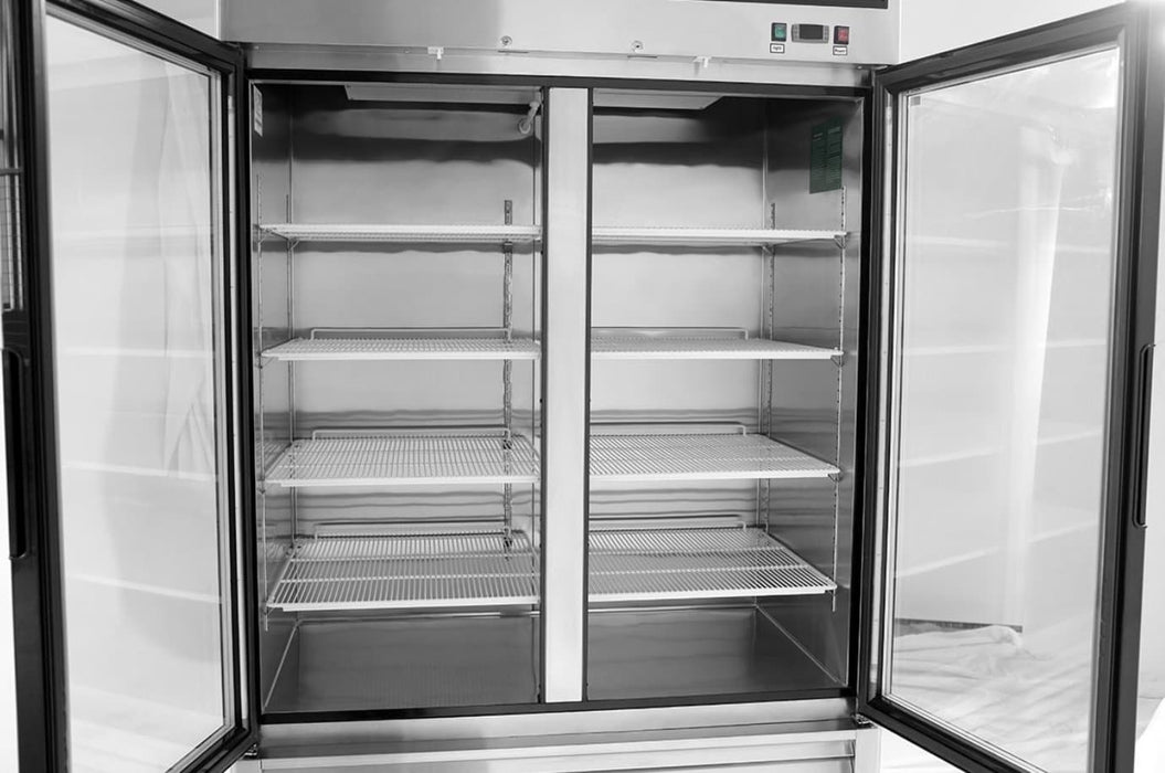 "Suttonaire MCF8703GR Double Swing Door 55"" Wide Stainless Steel Display Freezer - Omni Food Equipment"