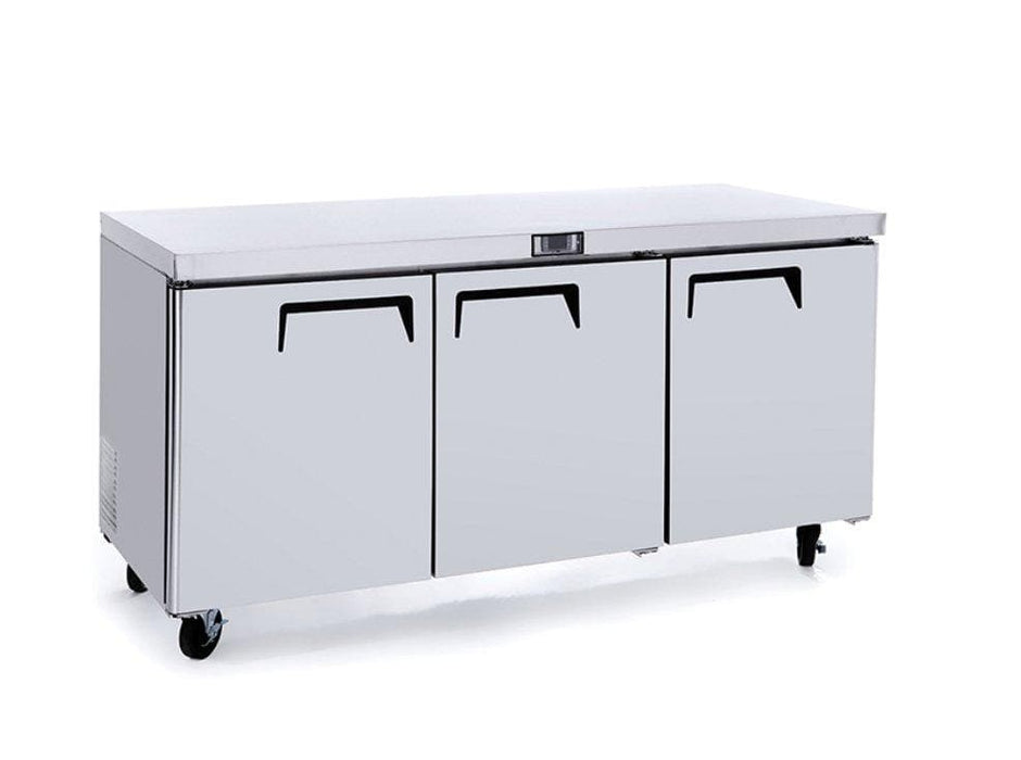"Suttonaire MGF8404GR Triple Door 72"" Refrigerated Work Table - Omni Food Equipment"
