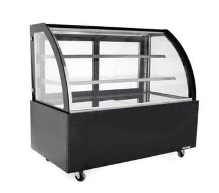 "Suttonaire WDG156D Curved Glass 59"" Refrigerated Pastry Display Case - Omni Food Equipment"