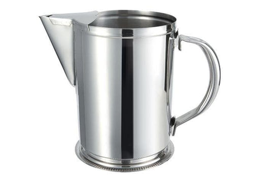 Winco 64 Ounce Stainless Steel Water Pitcher with Ice Guard - Omni Food Equipment