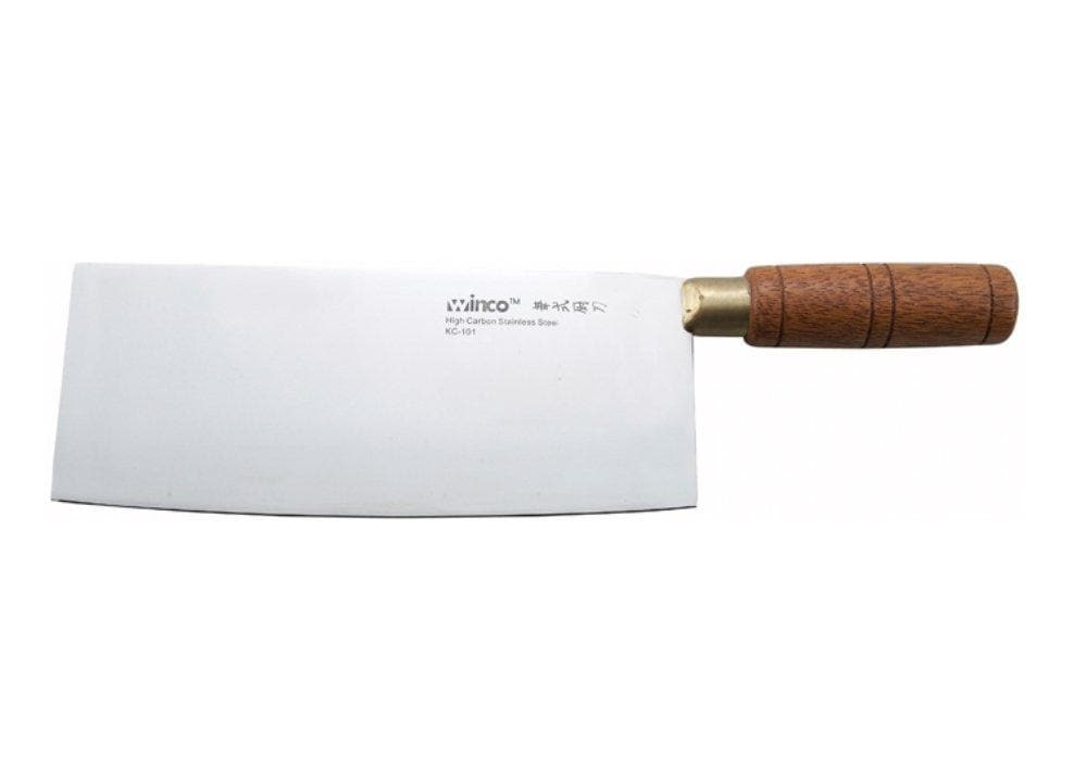 "Winco 8"" Chinese Cleaver With Wooden Handle - Omni Food Equipment"