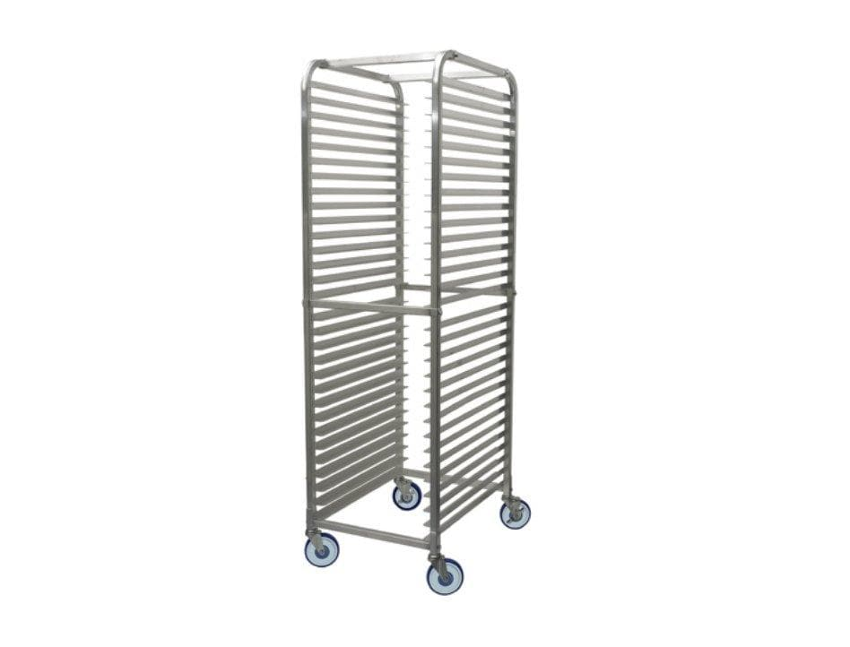Winco ALRK-30BK Aluminum WELDED 30-Tier Sheet Pan Rack with Brake, 2″ Spacing - Omni Food Equipment