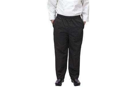 Winco Black Universal Fit Chef Pants - Various Sizes - Omni Food Equipment