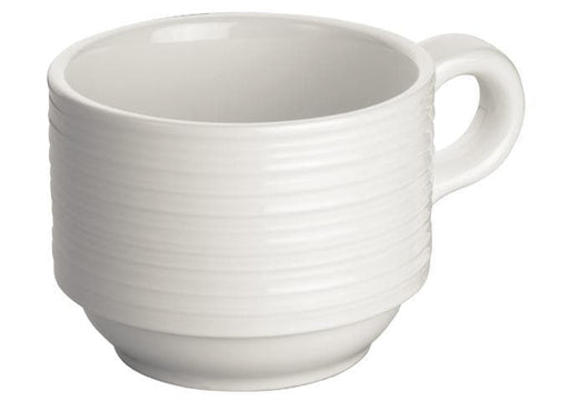 Winco Bright White Zendo 3-1/4″ Porcelain Coffee Cup - Omni Food Equipment