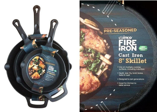 Winco FireIron™ Cast Iron Skillet - Various Sizes - Omni Food Equipment